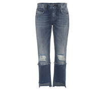 Cropped Jeans mit Distressed-Details