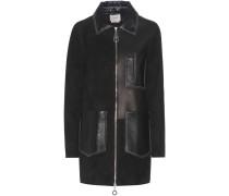 Mantel aus Glatt- und Veloursleder
