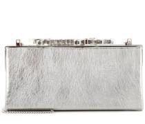 Verzierte Clutch Celeste aus Spazzolato-Leder