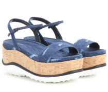 Plateausandalen aus Denim