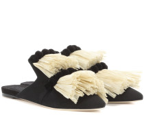 Slippers aus Canvas mit Raffiabast