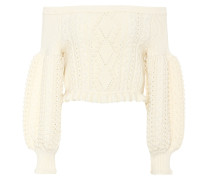Off-Shoulder-Pullover aus Wolle