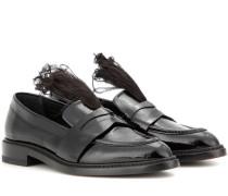 Verzierte Lederloafers mit Federn