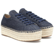 Plateau-Sneakers aus Denim