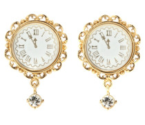 Vergoldete Clipohrringe Fantasy mit Uhr