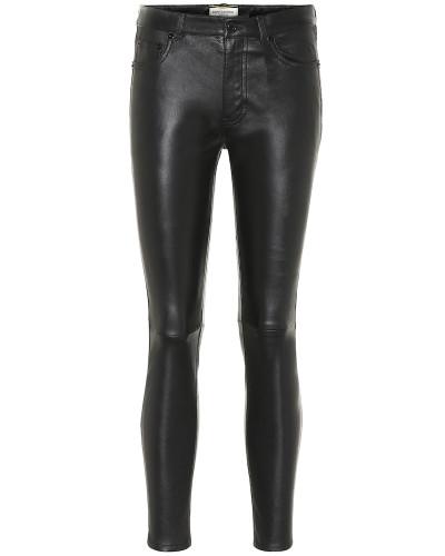 Cropped-Hose aus Leder