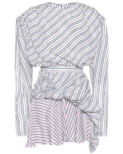 Gestreiftes Kleid aus einem Seidengemisch
