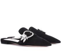 Verzierte Slippers aus Veloursleder