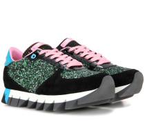 Sneakers aus Glitter und Veloursleder