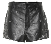 Bestickte Shorts aus Leder
