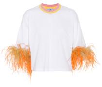 T-Shirt aus Baumwolle mit Federn