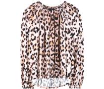 Bluse aus Crêpe mit Leopardenprint