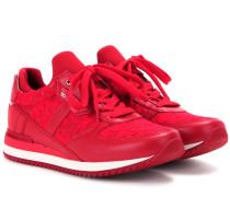 Sneakers aus Leder und Spitze