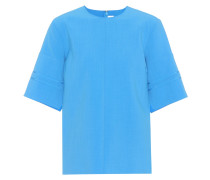 T-Shirt aus Crêpe mit Wollanteil