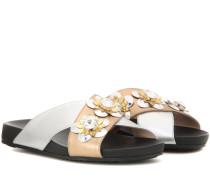 Verzierte Sandalen aus Metallic-Leder