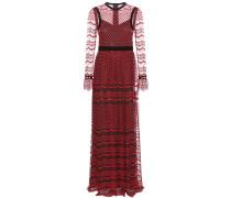 Bodenlanges Kleid aus besticktem Tüll