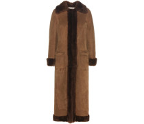 Mantel aus Veloursleder mit Pelzfutter