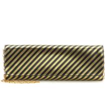 Gestreifte Clutch Pochette M aus Metallic-Leder