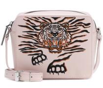 Bestickte Crossbody-Tasche Geo Tiger aus Leder