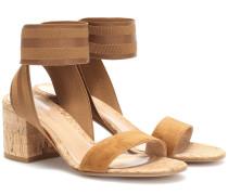 Slingback-Sandalen aus Veloursleder