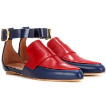 Zweifarbige Sandalen aus Leder