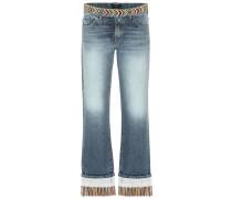 Verzierte Mid-Rise Jeans