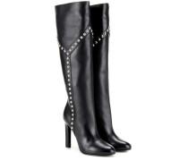 Verzierte kniehohe Stiefel aus Leder