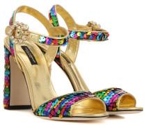 Sandaletten aus Metallic-Leder mit Pailletten