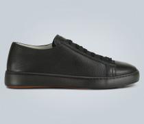 Sneakers aus genarbtem Leder