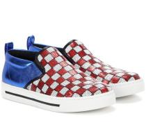 Paillettenverzierte Slip-on-Sneakers mit Metallic-Leder