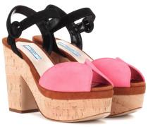 Sandaletten aus Veloursleder und Kork