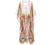 Langes Seidenkleid im Kaftan-Stil mit Print