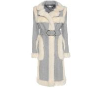 Mantel aus einem Wollgemisch mit Faux Fur