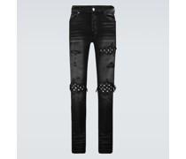 Skinny Jeans Slit Knee