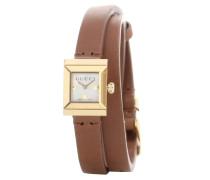 Vergoldete Uhr mit Perlmutt-Ziffernblatt und braunem Lederarmband