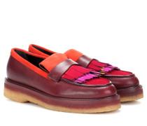 Loafers aus Glatt- und Veloursleder