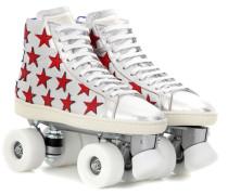 Rollerskates aus Metallic-Leder