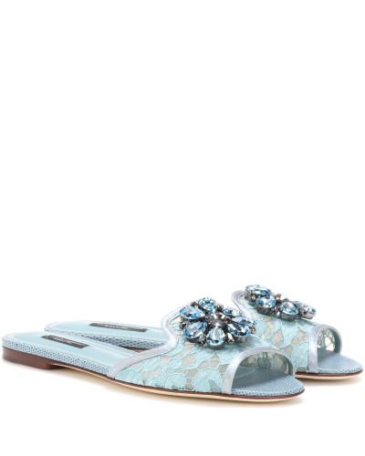 Dolce & Gabbana Damen Verzierte Sandalen Bianca aus Spitze