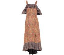 Gemustertes Crêpe-Kleid mit Volants