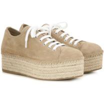Plateau-Espadrille-Sneakers aus Veloursleder