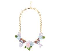 Halskette mit Kristallsteinen und Lederblüten