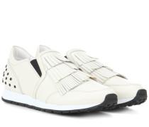 Sneakers aus Leder mit Fransen