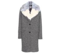Mantel aus einem Schurwollgemisch mit Faux-Fur-Kragen
