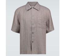 Gestreiftes Kurzarmhemd aus Leinen