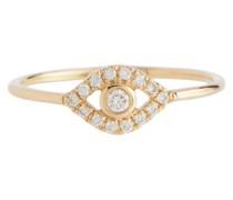 Ring Evil Eye aus 14kt Gelbgold mit Diamanten