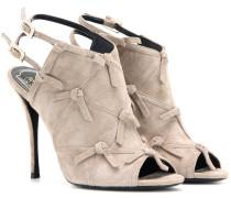 Peeptoe-Sandalen aus Veloursleder