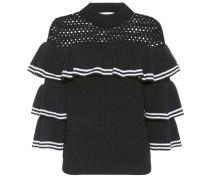 Pullover mit Rüschen aus Baumwolle und Wolle