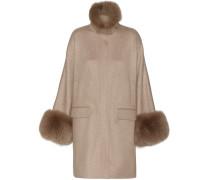 Cashmere-Mantel Anouk mit Fuchsfell