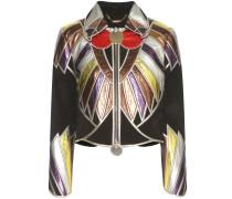 Jacke aus Velours- und Metallic-Leder