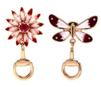 Ohrringe Flora aus 18kt Roségold und Emaille mit Rubin